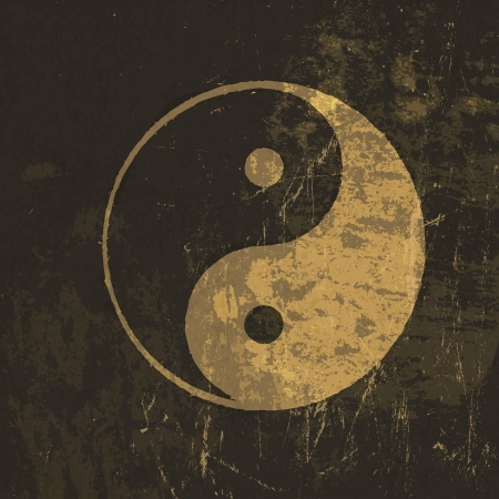 chinese philosophy: Yin yang grunge icon.