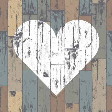 White heart on wooden background.   Vector
