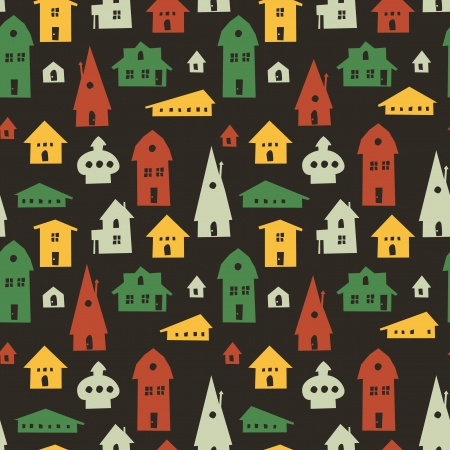 Different houses seamless pattern