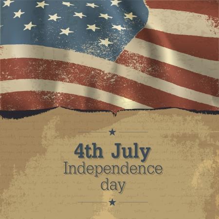 네번째: 독립 기념일 빈티지 포스터 디자인. 일러스트