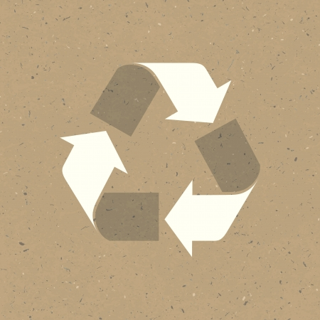 Recycled sign on reuse paper. Stock Vector - 19186579
