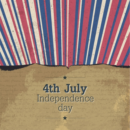Retro 4th july poster with rays Vector