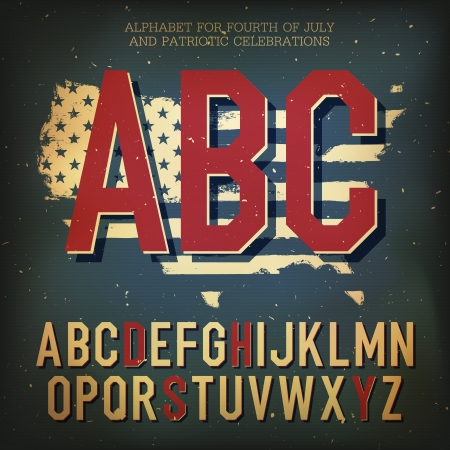 American themed alphabet. With elements for Independence Day Vector
