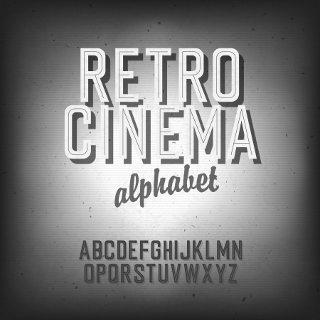 Old cinema styled alphabet.   Vector