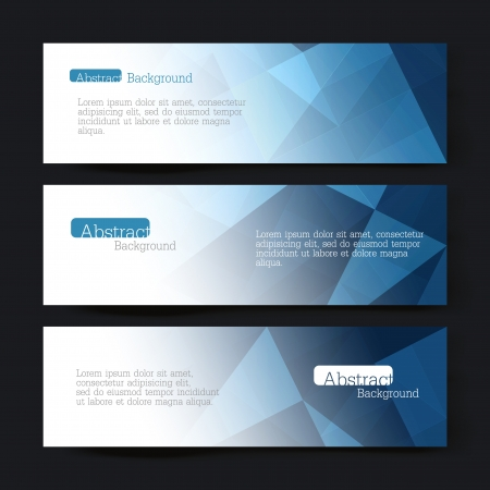 Collection of three horizontal banner designs, abstract blue triangles Illustration