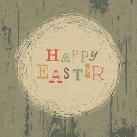 postcard template: Happy easter vintage greeting card with nest symbol. Illustration