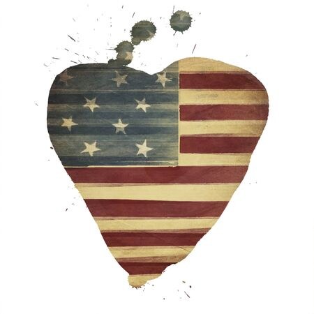 American flag yeart shaped. Vintage styled photo