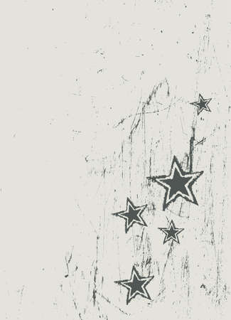 Stars on scratched beige texture. Vector photo