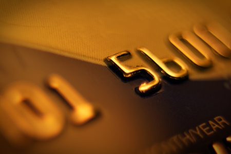 Credit card number, macro shot. photo