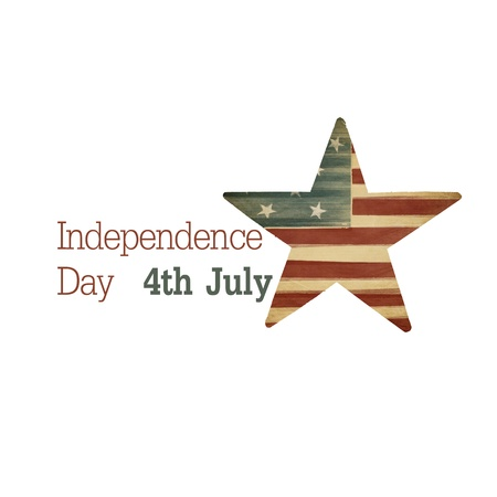 Independence day. Composition from text and star symbol. Raster illustration illustration
