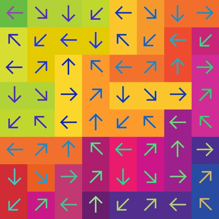 colourful: Abstract arrows on colorful rectangles background, vector