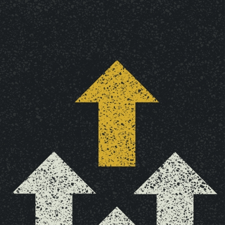 business metaphore: Arrows on asphalt road. Teamwork concept. Vector