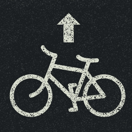 Bicycle road sign and arrow on asphalt background. Vector Vector