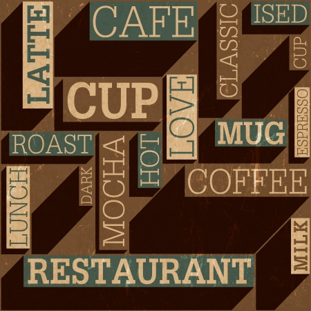 Coffee themed seamless retro background, vector Vector