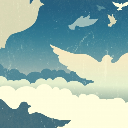 dove peace: Doves in summer sky with clouds. Vector