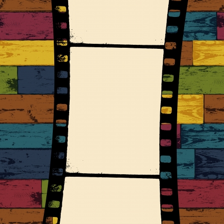 Film strip on colorful seamless wooden background. Vector, EPS10