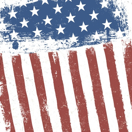 American flag grunge background. Vector, EPS10 Illustration