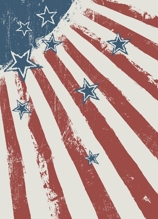 Stars on scratched american flag texture. Vector Vector