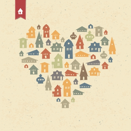 realty: Heart shaped many houses icons. Realty concept. Vector, EPS10