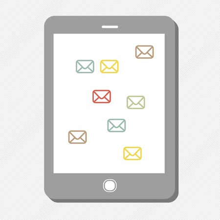 Tablet device with mail icons. Vector Stock Vector - 19919541