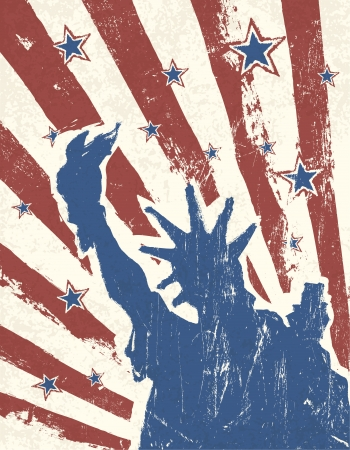 Grunge American Independence Day themed background. Vector. Vector