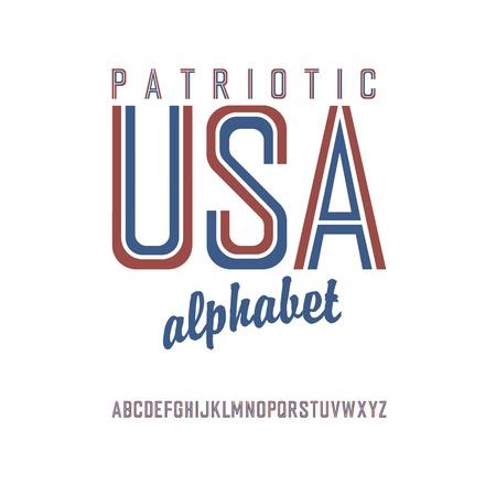American flag themed alphabet. Vector Illusztráció