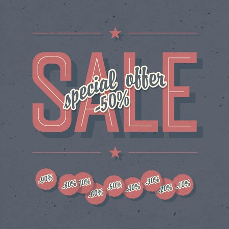 Sale coupon. Template with textured background and percents tags, vector, EPS10 Vector