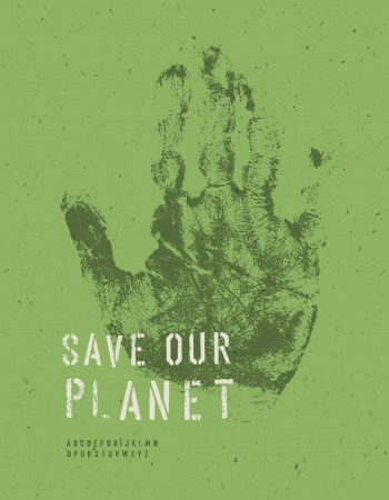 Save Our Planet Poster. With alphabet for headline text. Vector, EPS10