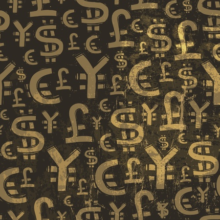 Seamless currency pattern on grunge texture. Vector Stock Vector - 19926128