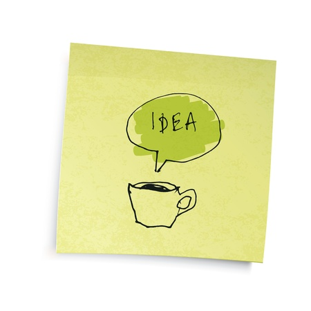 Yellow sticky notes with coffee cup idea illustration. Vector illustration, EPS10. Vector