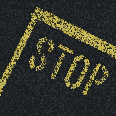 Stop sign on road. Vector Vector
