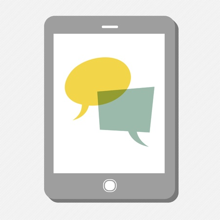 Tablet device with speech bubbles. Vector Stock Vector - 19919535