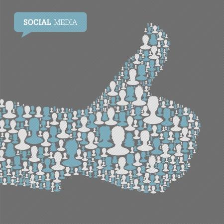 viele leute: Thumb up Symbol. Bestehend aus vielen Menschen Silhouetten. Social-Media-Konzept, Vektor-