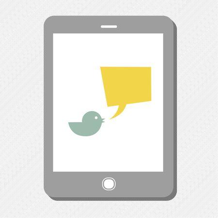 tweet: Tablet device with tweet bubble. Vector Illustration