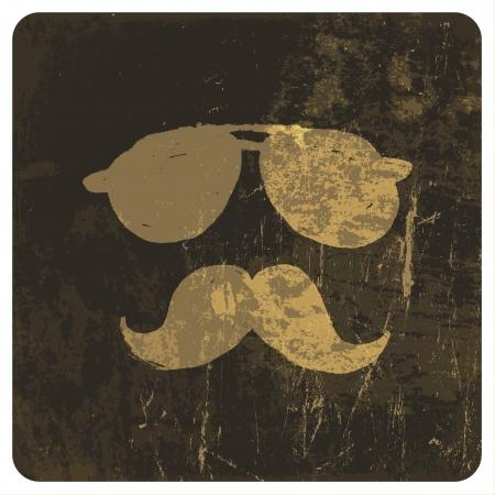 Grunge illustration of vintage face. Vector Illustration