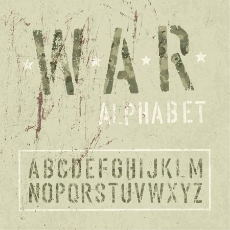 Camouflage grunge alphabet. Vector, EPS10. Vector
