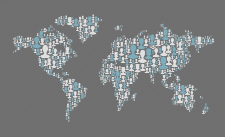World map. Social media concept. Composed from many people silhouettes, vector Vector