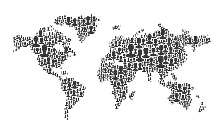 World map. Composed from many people silhouettes, vector Stock Vector - 19926084