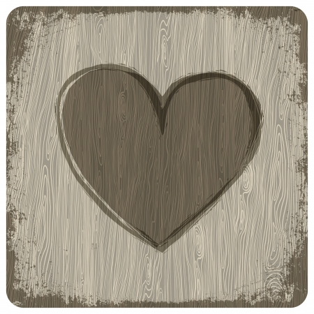 Rood hart op houten achtergrond