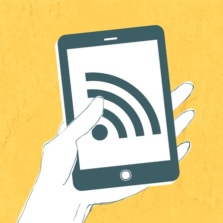 wireless connection: Smartphone with wireless connection icon.