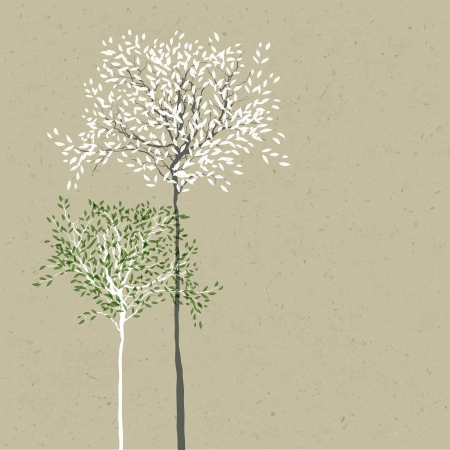 Trees background  The trunk and leaves in separate layers   Vector
