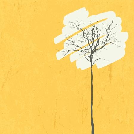 albero stilizzato: Albero stilizzato retr� sfondo