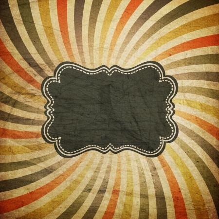 fondo de circo: Grunge rayos de colores de fondo con etiqueta de la vendimia para el texto.