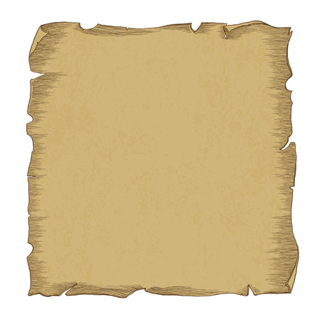parchment scroll: Aged scroll paper illustration, vector, isolated on white, separated by layers Illustration