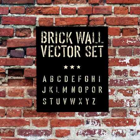 Brick traced texture, stencil alphabet and grunge rectangle. Three in one.  Vector set