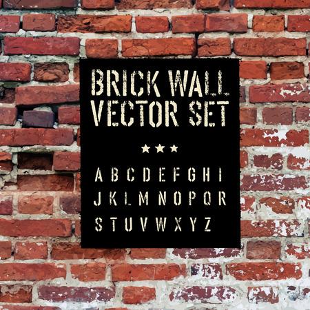 paredes de ladrillos: Ladrillo remontar textura, alfabeto plantilla y grunge rectángulo. Tres en uno. Vector conjunto