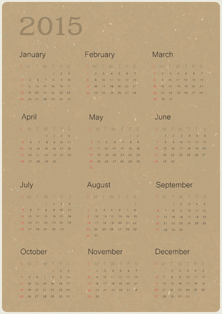 or recycled: Calendar 2015 on recycled paper texture, vector