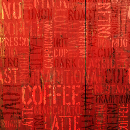 menu design: Coffee Experience Words On Red. Vector