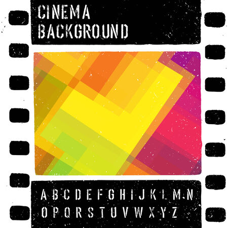 theather: Grunge colorful cinema design template. Vector