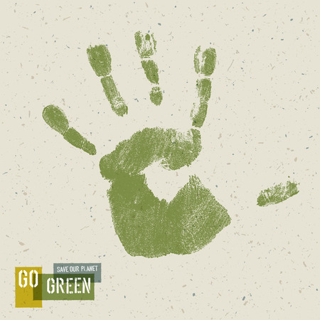 recycled paper: Go Green Concept Poster. Handprint on recycled paper texture, vector